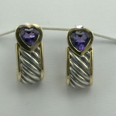 Italian 925 Sterling Silver & 18K Gold Earrings