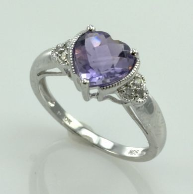 Natural Amethyst Diamond 10K White Gold Ring