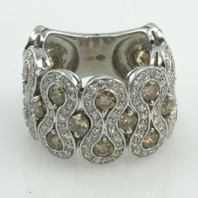 Antique 6 Carat Diamond 14K White Gold Flexible Estate Ring