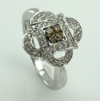 3/4 Carat Cognac Diamond 14K White Gold Ring