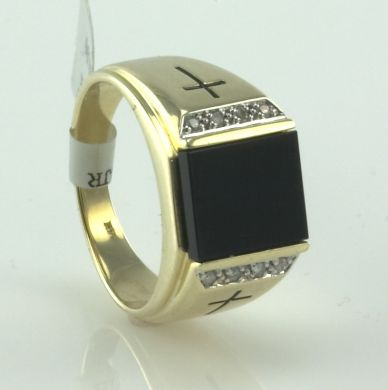 Black Onyx Diamond Men Ring 14K Yellow Gold