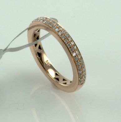 1/3 ct Eternity Wedding Half Band Diamond Ring Micro Pave Setting 14K Pink Gold