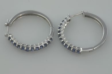 1 3/4 ct Sapphire Hoop Haggis Earrings White Gold