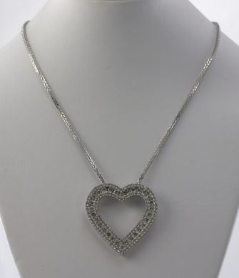 1 / 3 CT DIAMOND 14K WHITE GOLD HEART NECKLACE PENDANT