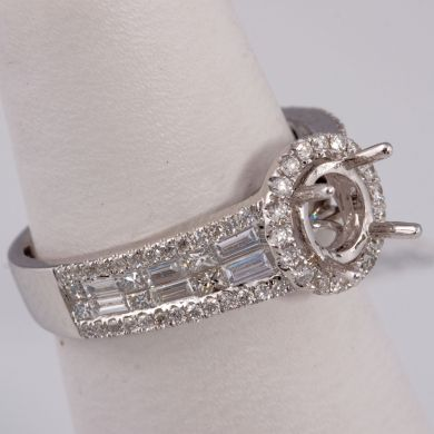 1 1/5 ct Diamond Engagement Semi Mount Gold Ring Setting