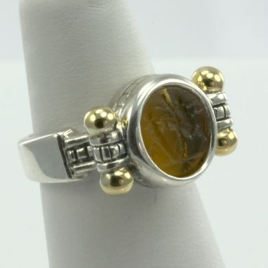 Italian 925 Sterling Silver & 18K Gold Ring